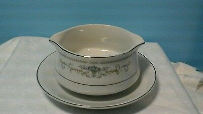 Diane Pattern Fine Porcelain Of Japan Gravy Boat With Attached Under Plate