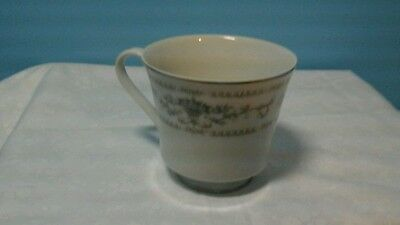 """Diane Pattern Fine Porcelain China Japan 3-1/4"""" Footed Coffee Cup Silver Bands"""