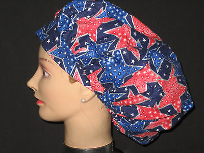 Surgical Scrub Hats/Caps Patriotic Red, White & Blue sparkling stars