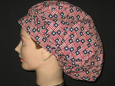 Surgical Scrub Hats/Caps Patriotic Stars and Stripes