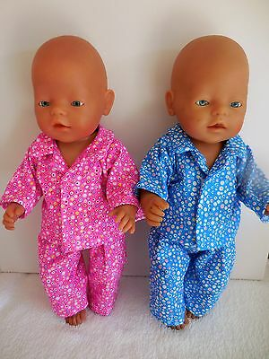 "Baby Born 17""  Dolls Clothes Hot Pink Or Blue Flannelette  Pyjamas"