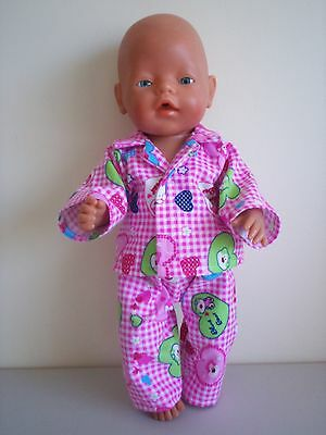 "Baby Born 17""  Dolls Clothes Pink Gingham Plannelette Pyjama's With Bears"