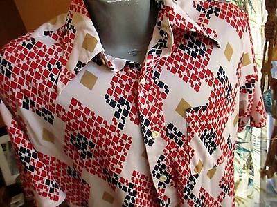 XL Vtg 70's POINT COLLAR WILD DISCO PRINT PRINT SEARS BUTTON DOWN SHIRT mens