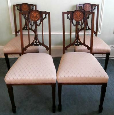 Vintage Antique Edwardian Set of 4 Salon Dining Chairs Inlaid Marquetry Detail