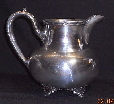 VINTAGE WILCOX SILVERPLATE Co FOOTED PITCHER ~EMBOSSED HANDLE & FEET