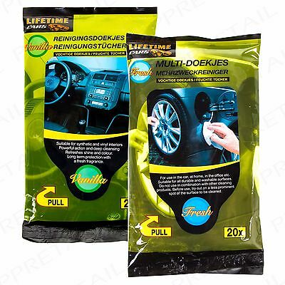 40Pc QUALITY SHINE WET WIPE CAR TISSUES Dash Clean Office/Home Interior/Exterior