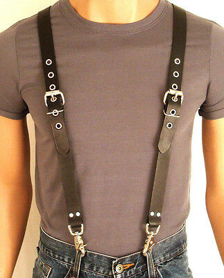 LEATHER SUSPENDERS BRACES Genuine LEATHER Biker PUNK Hand Crafted  U.S. 5 sizes
