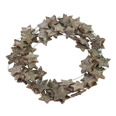 Birch Bark Christmas Star Wreath - 34cm - Rustic and Glittery