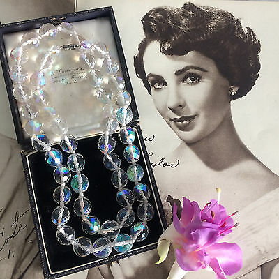 Vintage 50s Heavy Aurora Borealis AB Crystal Beads Long Necklace Knotted. Bridal