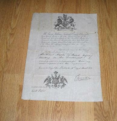 Signed Earl Of Clarendon Victorian British Passport 1866 Continental Travel
