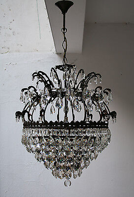Antique Brass & Crystals Bronze Tone Beautiful Chandelier from 1950's