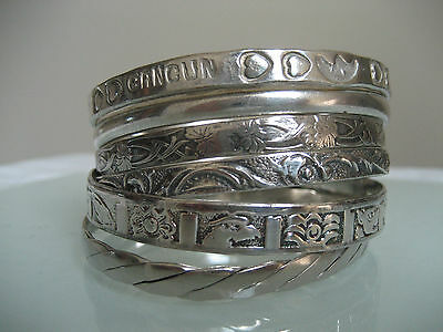 Vintage 925 Sterling Silver Taxco Mexico  Lot Of 6 Bangles 82.3  Grams