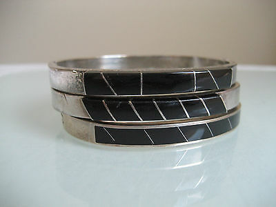 Vintage Sterling Silver & Inlay Onyx Set Of Three Bracelets Mexico 95.0 Grams