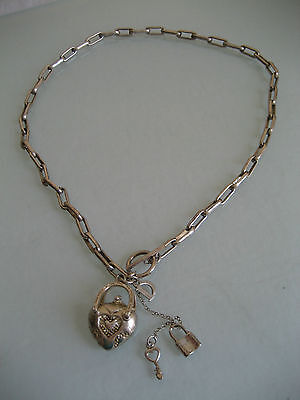 Vintage S Silver Chain Necklace With Heart Purse Key & Lock Letter D 40.5 Grams
