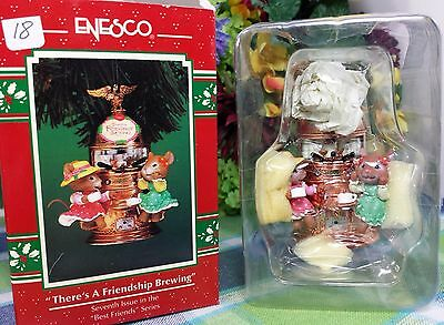 Enesco There's a Friendship Brewing ornament 1996 Mice at Cappuccino machine