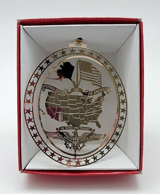 USA Brass Christmas Ornament Patriotic American Flag In God We Trust Eagle NEW
