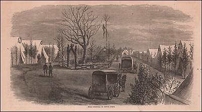 FIELD HOSPITAL, CIVIL WAR, NINTH CORPS, antique engraving, original 1868