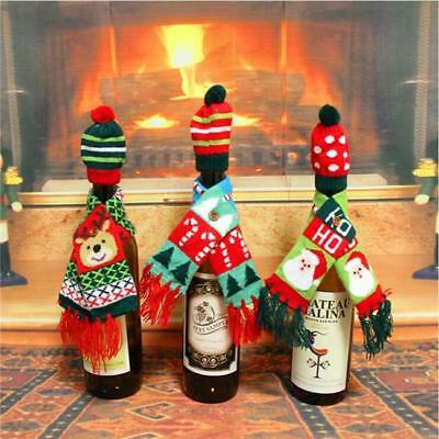 2Pcs/set Wine Bottle Cover Xmas Table Decor Christmas Bottle Cap Party Gift S