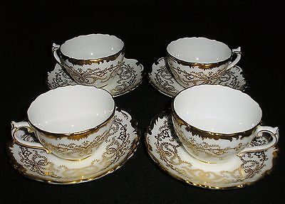 "Lot Set of Four (4) Coalport  "" Anniversary "" Cups & Saucers - Stunning!"
