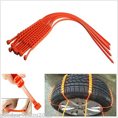 10 Pcs One Set Car Autos Snow Safety Tire Tyre Anti-skid Chains Thickened Tendon