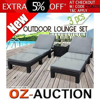 3 Pcs Outdoor Wicker Rattan Furniture Set Lounge Chaise Bed Table Patio Couch