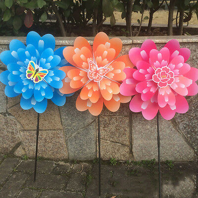 Butterfly Peony Flower Colourful Wind Spinner Windmill Home Garden Decor Hot