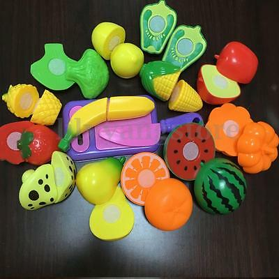 Safety Pretend Role Play Kitchen Fruit Vegetable Food Cutting Toy Set Child Gift