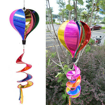 1pc Rainbow Sequins Windsock Striped Air Balloon Wind Spinner Outdoor Yard Decor