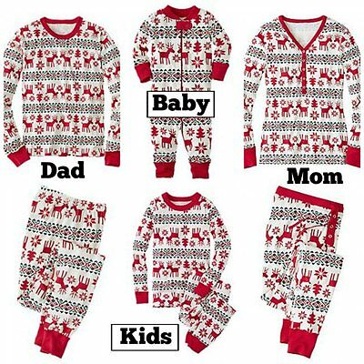 Christmas Family Matching Pajamas Set Men Women Kids Baby Deer Sleepwear Pyjamas