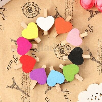 10/20/50/100Pcs Heart Wooden Mini Pegs Clip 35mm Birthday Wedding Party Favours