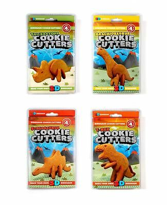 Dinosaur Cookie Cutters 3-D Kitchen Bakery Mould 4 Designs Fun Kids Cooking Gift
