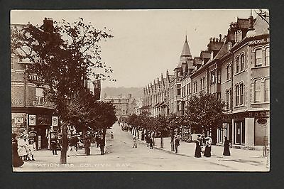 Colwyn Bay - Station Road - real photographic postcard