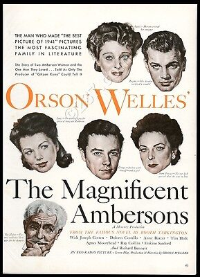 1942 The Magnificent Ambersons Orson Welles movie release vintage print ad