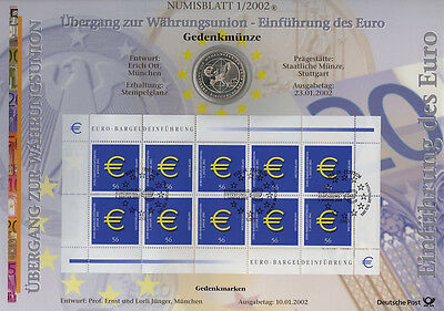 Numisblätter 2002: Numisblatt 1/02 Monetary Union With Silver Commemorative Coin