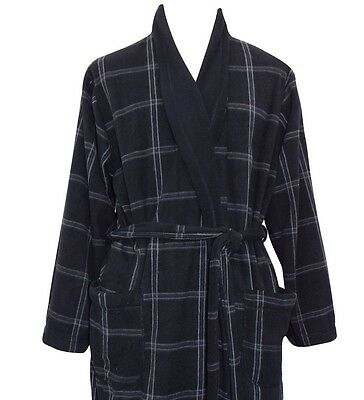 Mens Gents Marks And Spencer M&S Lightweight Black Check Dressing Gown Robe NEW