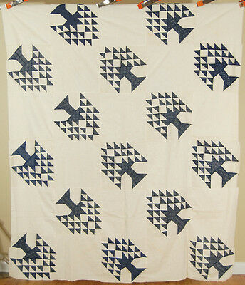 OUTSTANDING Vintage 1890's Indigo & White Tree of Life Antique Quilt Top ~MINT!