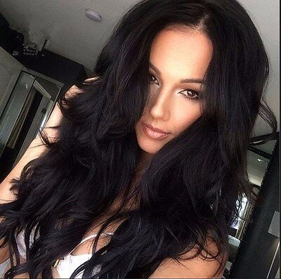 Women's Fashion Long Wavy Full Wig Heat Resistant Hair Black Party Wigs Cosplay