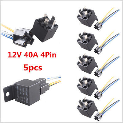 5Pcs Black Car Truck Auto Heavy 12V 40A 40 AMP SPST Relay Relays Socket 4 Pin 4P