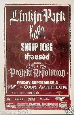 Linkin Park / Korn / Snoop Dogg / The Used 2004 San Diego Concert Tour Poster