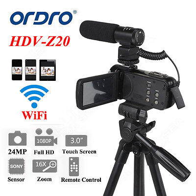 ORDRO HD 1080P Digital Video Camera DV Camcorder 24MP 16X Zoom+Microphone+Tripod