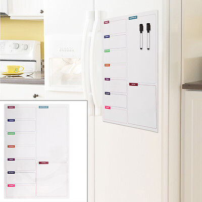 Large Fridge Notice A3 Board Magnetic Memo Weekly Meal Planner Whiteboard 2 Pens