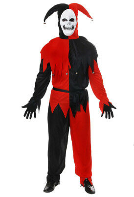 M/L/XL Evil Jester Costume + Mask Halloween Scary Clown Mens Fancy Dress Outfit