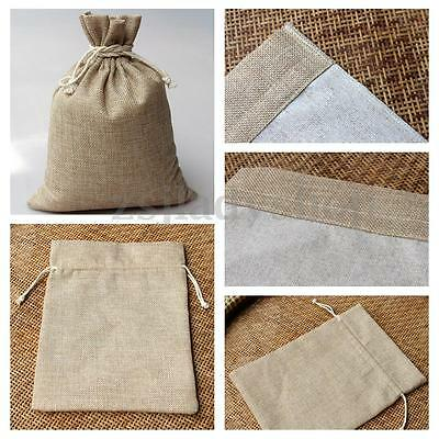 12x Linen Burlap Jute Hessian Drawstring Bags Wedding Favor Gift Jewelry Pouches