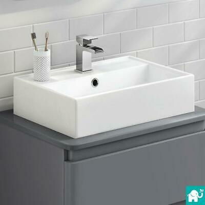 Modern Rectangle Bathroom Counter Top Wall White Basin Cloakroom Gloss Wash Sink