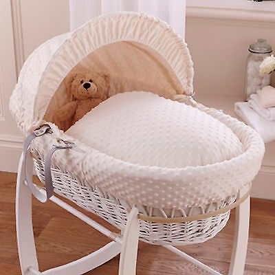 New Clair De Lune Cream Dimple Padded White Wicker Baby Moses Basket & Mattress