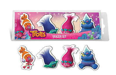 Official Licensed Trolls 4 Piece Eraser Set Rubbers Party Bag Fillers