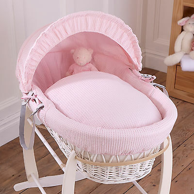New Clair De Lune Pink Waffle White Wicker Deluxe Padded Baby Moses Basket