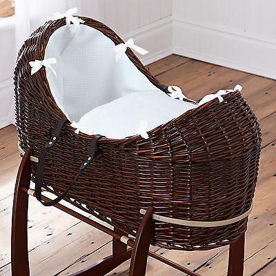 New Clair De Lune White Waffle Dark Wicker Padded Baby Moses Basket / Noah Pod