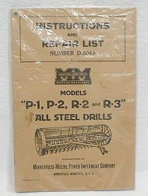 Minneapolis Moline All Steel Drills Instruction And Repair List Booklet