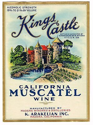 C1930S Wine Bottle Label Nos Madera California Vintage Kings Castle Muscatel